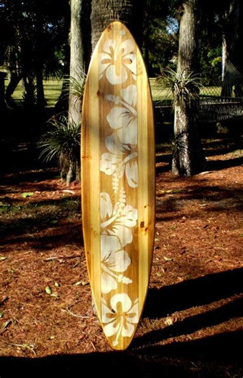 natural vintage distress wood surfboard wall art solid wood