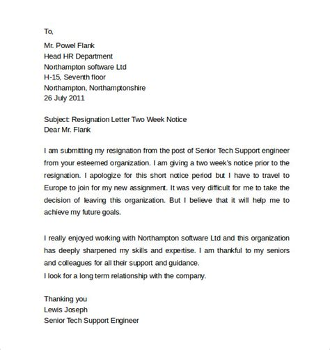 sle resignation letters 2 week notice 8 free documents in pdf word