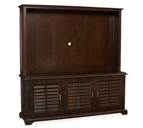Large Media Cabinet With Doors Traditional Style Brown Shutter Doors Large Media Console And Hutch