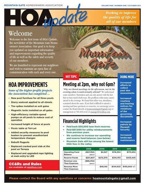 Mountain Gate Hoa Newsletter Design By Scott A Mcpherson Issuu Hoa Community Newsletter Templates