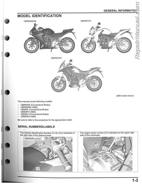 service manual 2013 2015 honda cbr500 cb500 motorcycle service manual