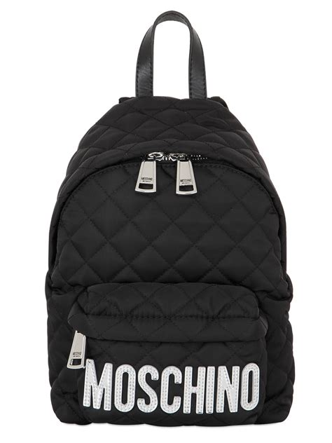 moschino small logo quilted backpack in silver for