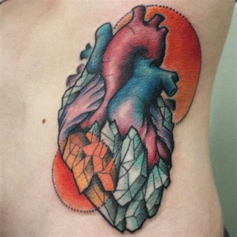 crystal heart tattoo neotraditional tattoo hearttattoo