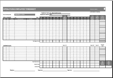Operations Employee Time Card Template Ms Excel Excel Templates Time Card Spreadsheet Template Free