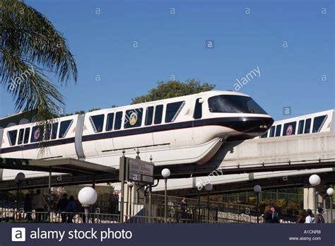 orlando florida transportation monorail entering transportation center at disney world in