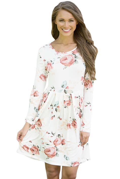 flower pattern gowns us 6 89 white chic long sleeve boho floral pattern dress