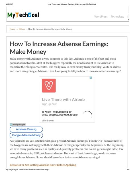 adsense how to make money how to increase adsense earnings make money my techgoal