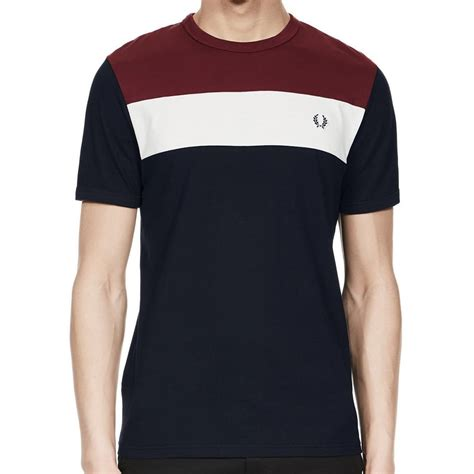 Panel Shirt fred perry colour block panel t shirt in navy jon barrie m2544