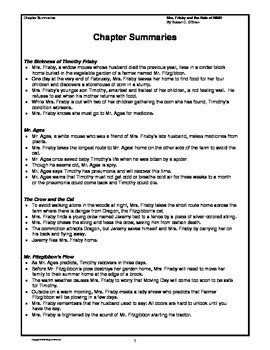 Mrs. Frisby and the Rats of NIMH Novel Study Guide by
