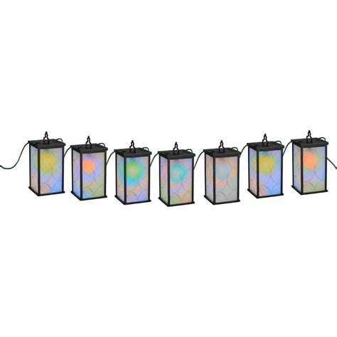 Newport Coastal Patio Lights 7 Light Black Led Mosaic Patio String Lights Home Depot