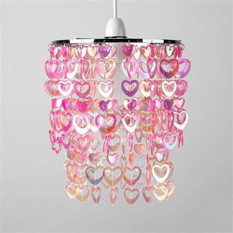 girls childrens bedroom nursery pink hearts ceiling light