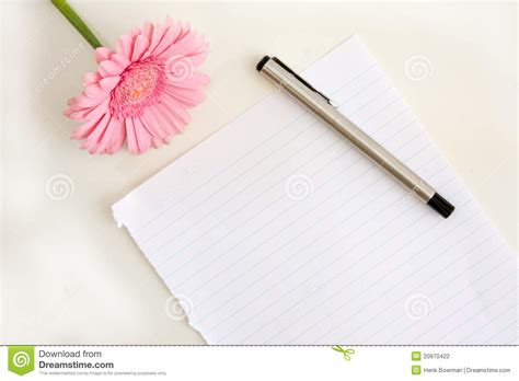 paper for pen writing paper with pen and flower stock photography image 20970422
