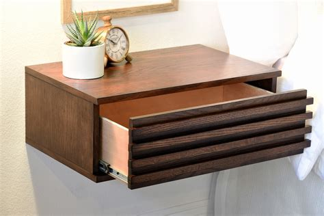 Pair of Floating Nightstand Drawers   Lotus   Russet Brown
