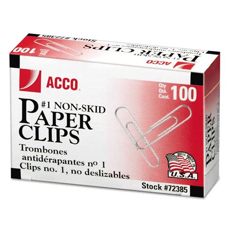 Paper Clip No 1 nonskid standard paper by acco acc72385