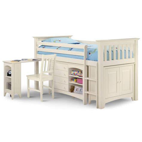 White Mid Sleeper Bed With Desk by Julian Bowen Cameo Right Mid Sleeper Bunk Bed White