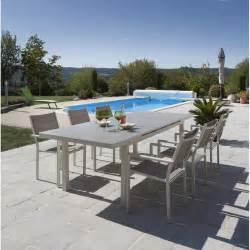 salon de jardin malaga aluminium taupe 1 table et 6