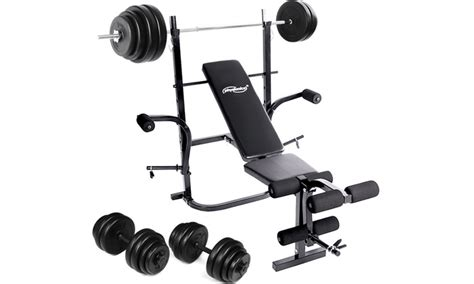 Barbel Fullset weight bench set groupon