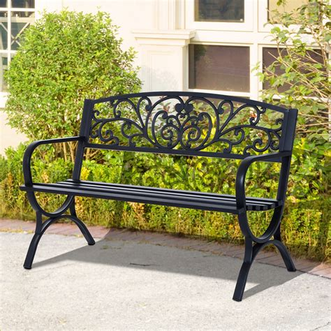 cast iron loveseat outsunny 50 quot patio porch loveseat cast iron outdoor bench