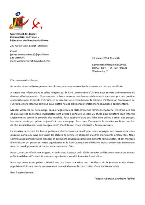 Lettre De Motivation Anglais Date Parti Communiste