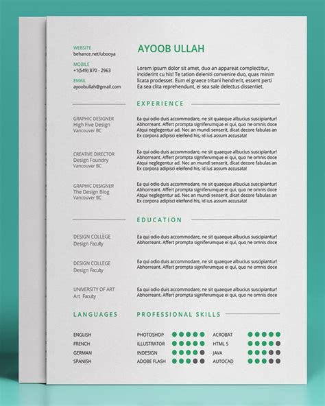 editable resume templates 20 free editable cv resume templates for ps ai the o