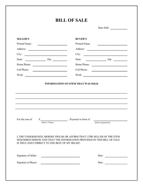 bill of sale template free printable bill of sale free printable documents