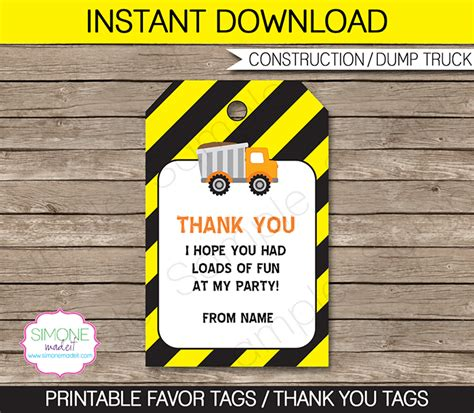 truck thank you card template construction favor tags template thank you tags