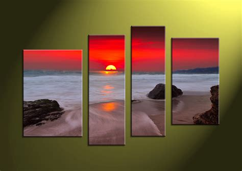 photography home decor 4 piece canvas red sunset white ocean wall art