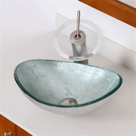Elite 1412 Unique Oval Artistic Silver Tempered Glass Bathroom Vessel Sink Bathroom