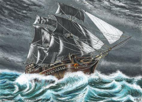 boat crashing drawing ship in stormy sea by gabrielgrob on deviantart