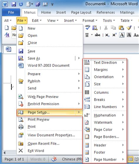 page layout menu in ms word 2010 where is page setup in office 2007 2010 2013 and 365