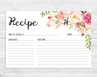bridal shower recipe cards templates wedding invitations paper etsy