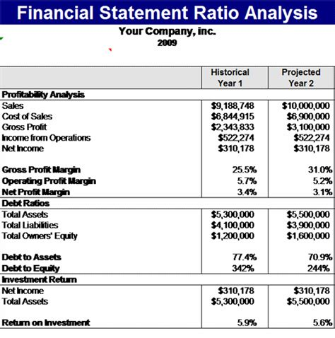 financial statement template financial statement ratios template microsoft excel