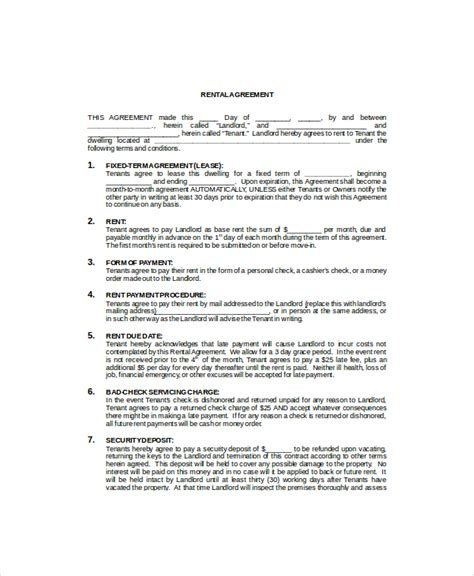 commercial property rental agreement template commercial lease template 7 free word pdf documents