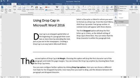 how to a to drop the how to insert drop cap microsoft word 2016 tutorial
