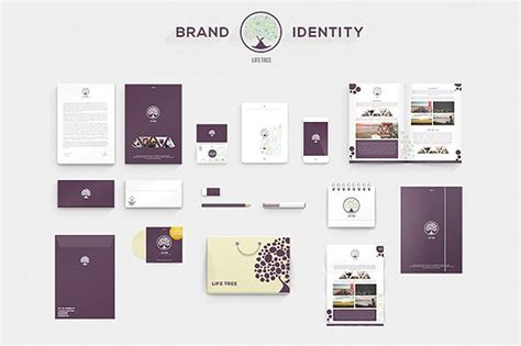 Lifetree Brand Identity Stationery Templates Creative Market Branding Package Template