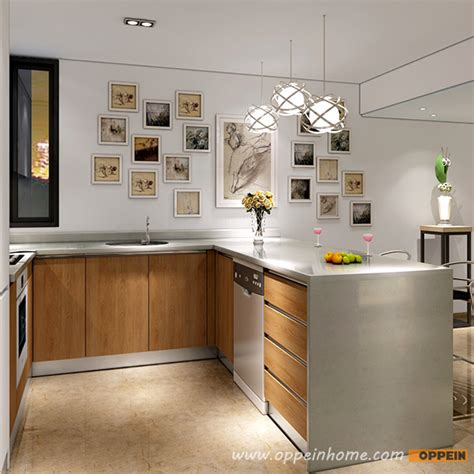 Wood Grain Kitchen Cabinets by Op16 L05 Modern White Matte Lacquer And Wood Grain