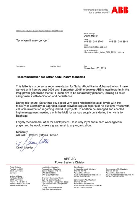 Employment Reference Letter Germany Recommendation Letter From Abb Germany For Period 2009 2015