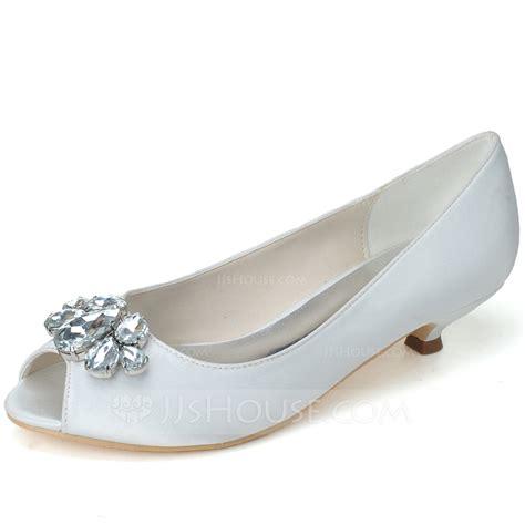 wedding shoes kitten heel with peep toe s satin kitten heel peep toe pumps with rhinestone