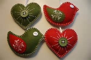 felt ornaments birds and hearts