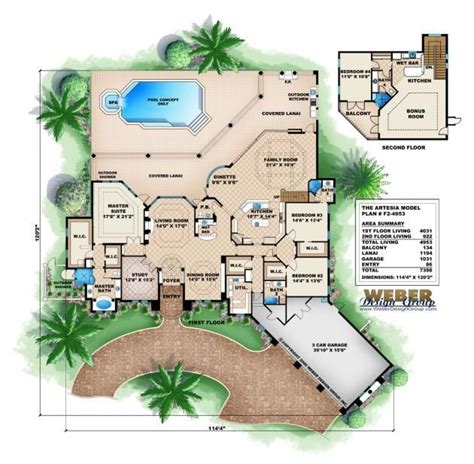 Mediterranean Style Floor Plans by Mediterranean House Plan Artesia House Plan Weber