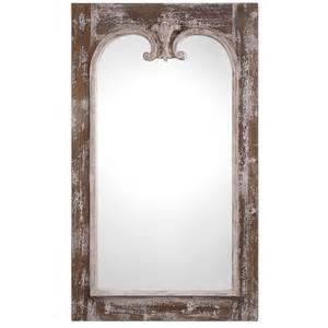 French Settees Tall Rustic Farmhouse Mirror Distressed Chipped Finish