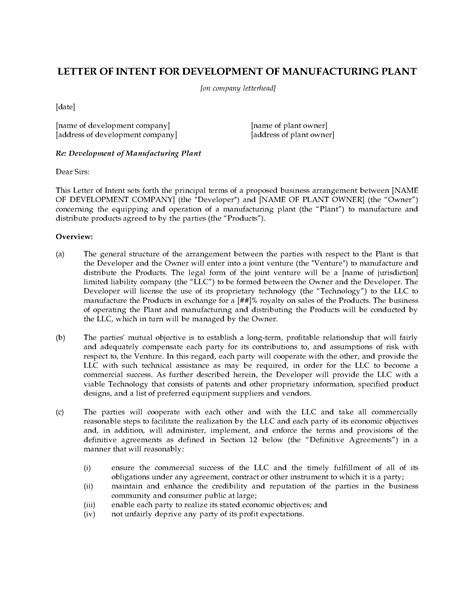 Letter Of Intent Ontario Letter Of Intent For Manufacturing Joint Venture Forms And Business Templates Megadox