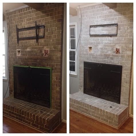 Before And After Brick Fireplace by Weekend Project Whitewashed Fireplace More Than Just