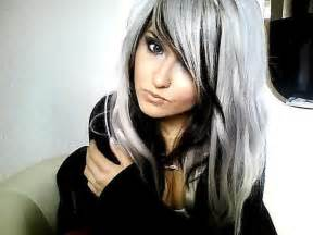 black lowlights in white gray hair silver hair w black would look sooo hot with some