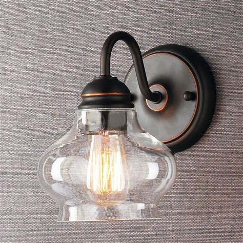 bathroom sconce lighting fixtures clear cloche glass sconce available in 2 colors bronze