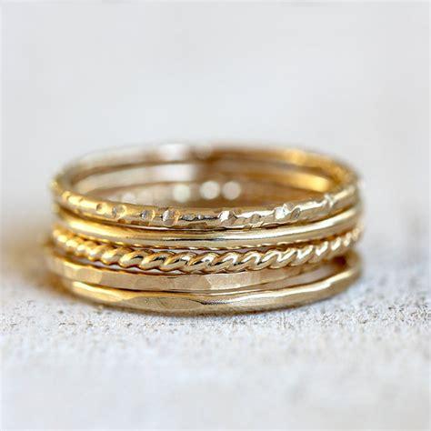 gold stacking rings 14k set of 5 gold stacking rings
