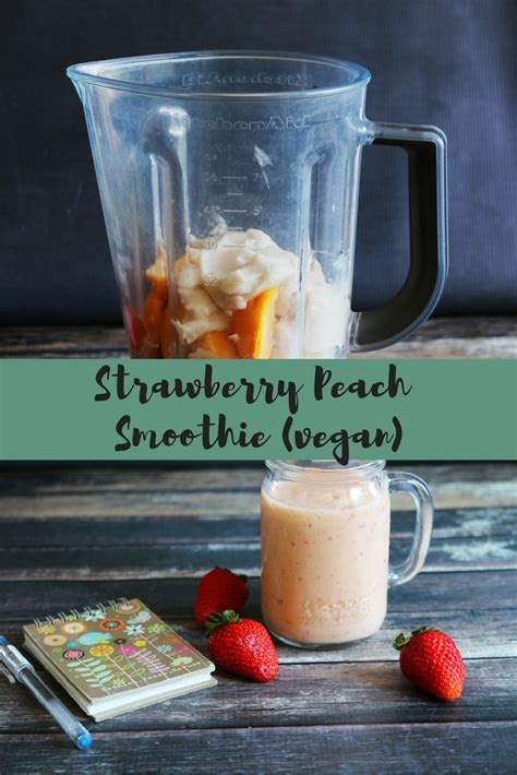 strawberry peach smoothie vegan being tazim