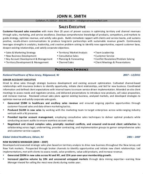 Tax Executive Resume Sles 41 Sales Resume Templates Free Premium Templates