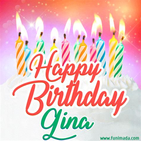 happy birthday gif  gina  birthday cake  lit candles   funimadacom