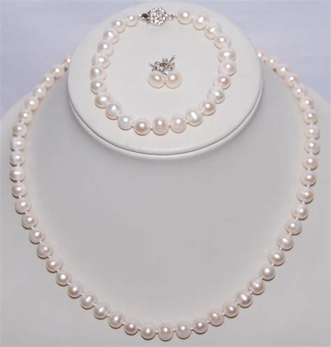 Set Pearls Necklace 3 color freshwater pearl jewelry set 8 9mm pearl necklace bracelet earrings set